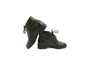 Chocolate Brown Ankle Boots by Boston Accent, Women's Size 8 M, Leather Granny Boots