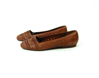 Trotters Closed Toe Leather Sandals, 9 1/2 N / Genuine Leather Sandals / Boho Flats