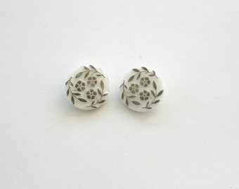 Vintage Flower Buttons Pair Milk Glass w Silver Luster Self Shank Buttons Lot of 2 matching Buttons