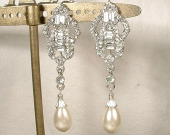 1920s Pearl & Rhinestone Bridal Dangle Earrings, Long Art Deco Crystal Silver Wedding Statement Earrings, Edwardian Gatsby Drops Chandelier