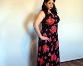 Vintage Plus Size Maxi Dress 1970s Floral Orange and Black Empire Waist Floor Length Dress extra large XL XXL size 18 size 20