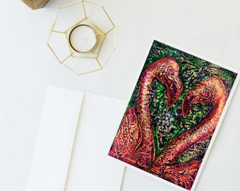 Flamingo Stationary, Flamingos Heart, Art Card, Blank Notecard, Love Stationary, Flamingo Card, Flamingo Art, Pink Flamingos