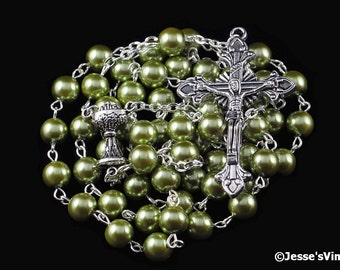 First Communion Rosary Catholic Tradtional Olive Green Glass Pearl Antique Silver Chalice Center Rosary Beads