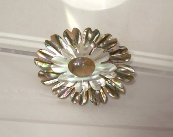 Carved Abalone MOP Brooch Flower Blister Pearl Pin Vintage Unusual