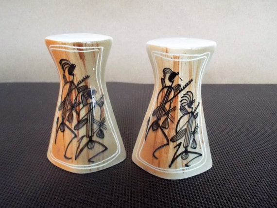 Mid Century Modern Abstract Musicians Design Ceramic Salt and Pepper Shakers