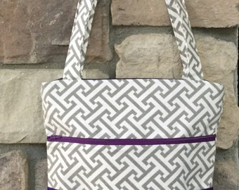 Zippered Tote Bag in Gray, White and Purple
