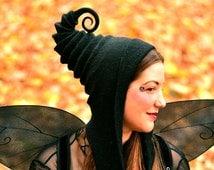 Black Pixie Hood. Cosplay Hat. LARP