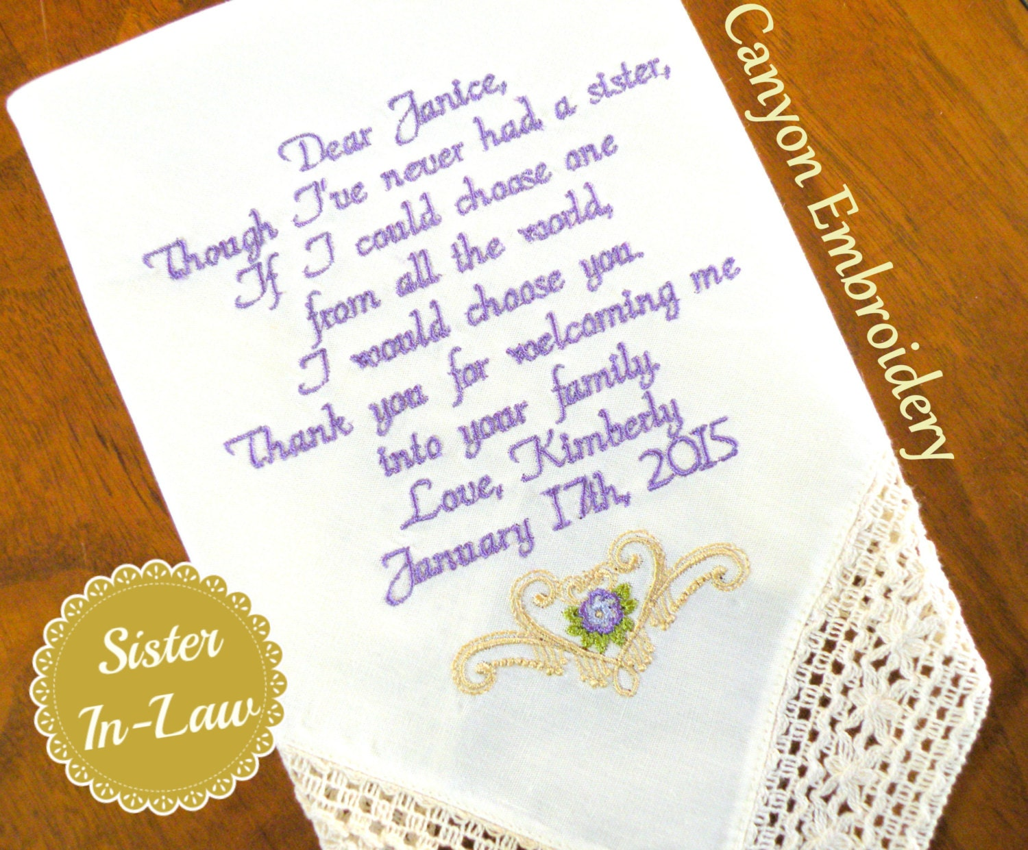 Bridal Shower Gift For Future Sister In Law : Sister Sister In-Law Wedding Gift Embroidered Wedding