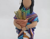 Women of the earth polymer clay sculpture figurine with reed basket