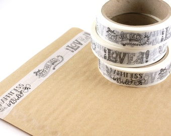 SHOP EXCLUSIVE - hand lettered WASHI Tape - best mail ever, happiness inside with bee, you are loved- 24 yards