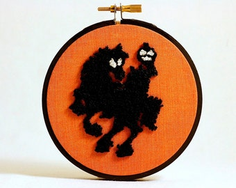 Ready to Ship! Glow in the Dark Headless Horseman Silhouette Embroidery Hoop. Sleepy Hollow. Orange and Black. Punch Needle Embroidery