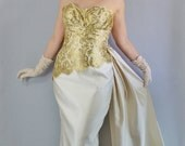 Vintage 80s does 50s Women's Gold Lace Cream San Carlin Saks Fifth Avenue Dramatic Sash Strapless Wedding Alternative Long Gown Dress