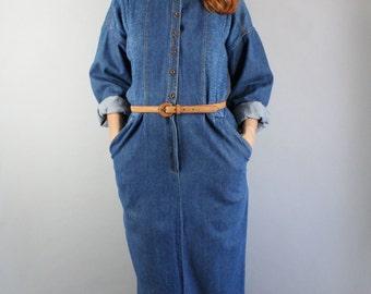Women's Denim Shirtdress, Vintage 80s Dress, Minimal, Neutral, Basic, Work, Long Sleeve, Rugged, Southwest, Spring, Size Medium