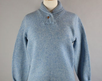 Vintage 80s Women's Light Sky Blue Shawl Collar Wool Cabin Country Style Fall Winter Pullover Sweater