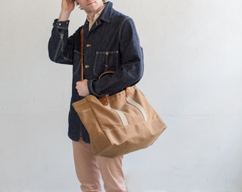 Tool / Garden Tote in Rust Waxed Canvas & Harness Leather