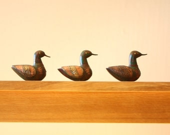 Antique Hand Made Ducks - Set Of Three - Wood And Metals - Rustic - Imported From India - Vintage - Bohemian - Colonial - Zen