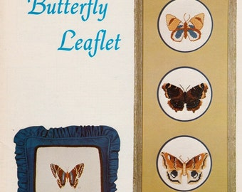 Maggie's Butterfly Leaflet, Cross Stitch Designs, Counted Cross-Stitch Butterfly Charts, Four Butterfly Designs, 1979