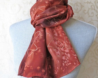Brown and Copper Crepe Silk Scarf with Gold Highlights Discounted