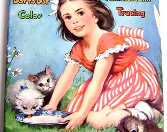 """Vintage Coloring Book- """"The Busy Busy Book"""" Whitman 1950's"""