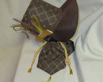 Dark Brown and Gold Stovepipe Bonnet and Reticule- Regency, Georgian, Jane Austen Era Bonnet and Purse