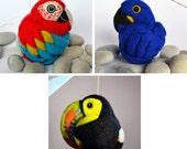 Custom Order - rainforest animal set, needle felted wool ornaments