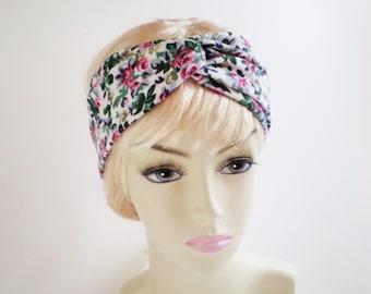 Rose Turban Headband, Rose Floral Turban Headband, Rose Twist Headband, Rose Twisted Headband, Floral Knit Headband