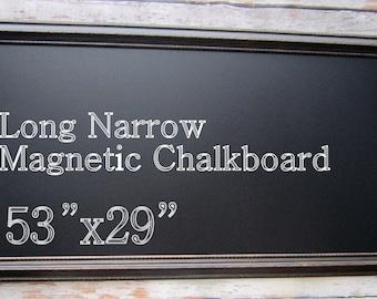 """BLACK FRAME CHALKBOARD 53""""x29"""" Large Long Chalk board Kitchen Chalkboard Office Furniture Rustic Black Framed Wood Framed Blackboard"""