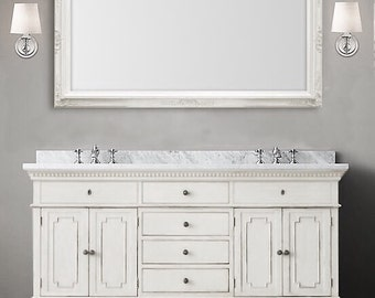 "MANY SIZES AVAILABLE White Framed Bathroom Mirror Framed Baroque Vanity Mirror Wall Mirror 56""x32"" Decorative Ornate Unique Mirror Rectangle"