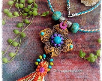 SHANTI Tassel NECKLACE Bolo necklace Artisan Leather necklace Colorful necklace handmade clay pendant Happy Summer Gypsy Boho jewelry GPyoga