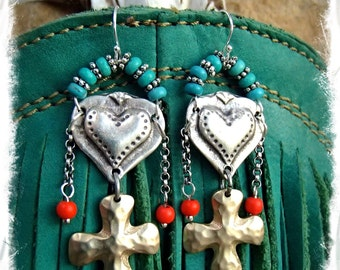 Cowgirl HEART Earrings CROSS earrings Sterling silver earrings Turquoise Orange Love Mojo Boho GYPSY earrings Valentines Day gift