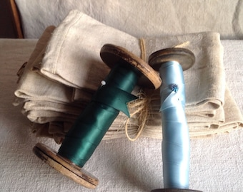 Antique Wooden Bobbins & Satin Tape. Green Blue Ribbons / French Reels, 2pc Rustic Home Decor Vintage Textiles