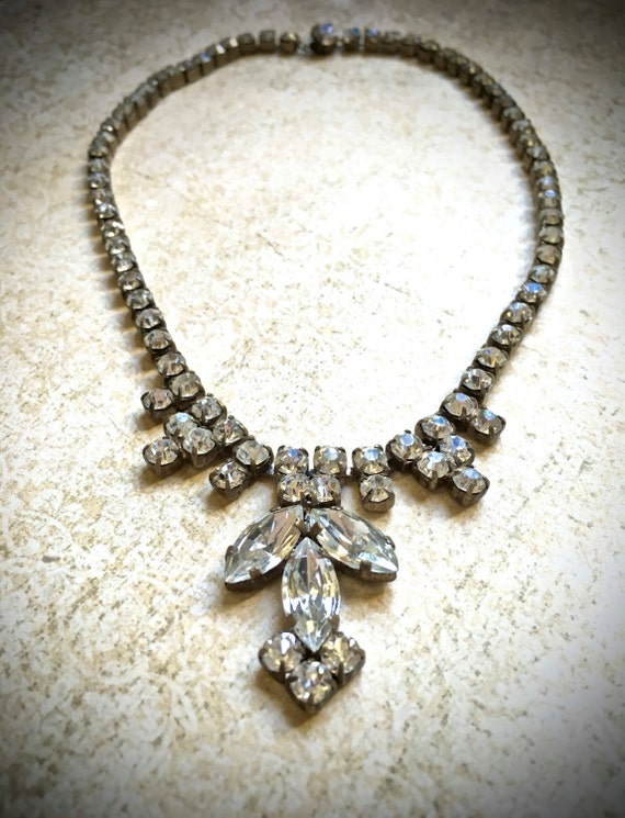 Rhinestone Vintage Choker- Art Deco Necklace