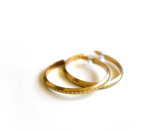 Vintage Hoop Earrings Stamped Gold Tone Metal
