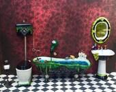Dollhouse Miniature Halloween Witch Wizard Bath Set Bath Tub Toilet Sink Mirror Toilet Paper Roll Holder 1/12 scale