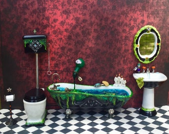 Dollhouse Miniature Halloween Witch Wizard Bath Set Bath Tub Toilet Sink Mirror Toilet Paper Roll Holder 1/12 scale