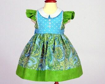 Toddler girl party dress infant girl flutter sleeves aqua green paisley turquoise polka dots Peter Pan collar- Bluebelle