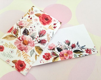 Watercolor Floral Mini Cards, Gift Enclosure Card, Mini Cards and Envelopes, Gift Card Holder, Set of 10