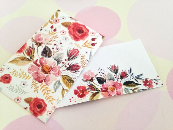 Watercolor floral mini cards gift enclosure card
