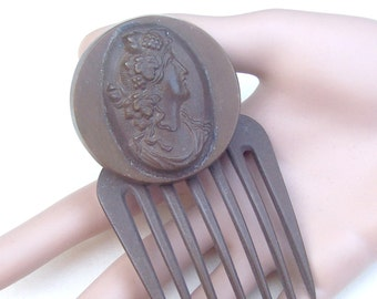 Victorian mourning hair comb Vulcanite cameo hair accessory hair jewelry decorative comb headdress headpiece
