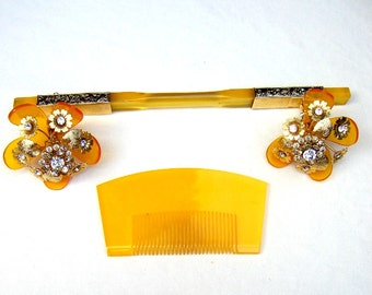Vintage Japanese geisha comb hairpin wedding set headpiece headdress hair jewelry hair pick hair pin hair fork (AAA)