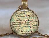 Asheville, North Carolina map necklace, Asheville map pendant, map jewelry Asheville necklace, Asheville pendant key chain