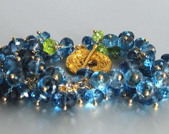 RESERVED FOR GISELLE - Tempestuous - London Blue Topaz Bracelet with Swiss Blue Topaz and Peridot