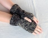 Fingerless Gloves Brown Knit Gloves FIngerless Mittens Brown Hand Warmers Mens fingerless gloves