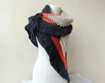 Grey shawl Multi colour hand knitted wrap Knit Cape Gift for her Chunky knit shawl wrap in coral Knit scarf  Knit Hood