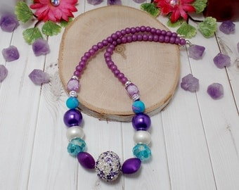 Blue And Purple Beaded Necklace - OOAK - Statement Necklace