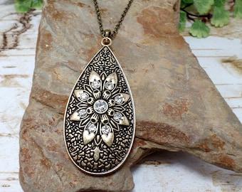 Rhinestone Flower Necklace, Tear Drop Necklace