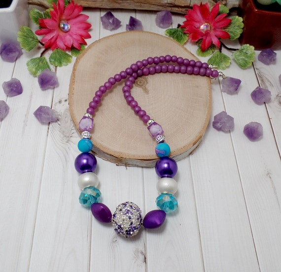 Blue And Purple Beaded Necklace - OOAK - Statement Necklace - Violet Necklace - Free US Shipping