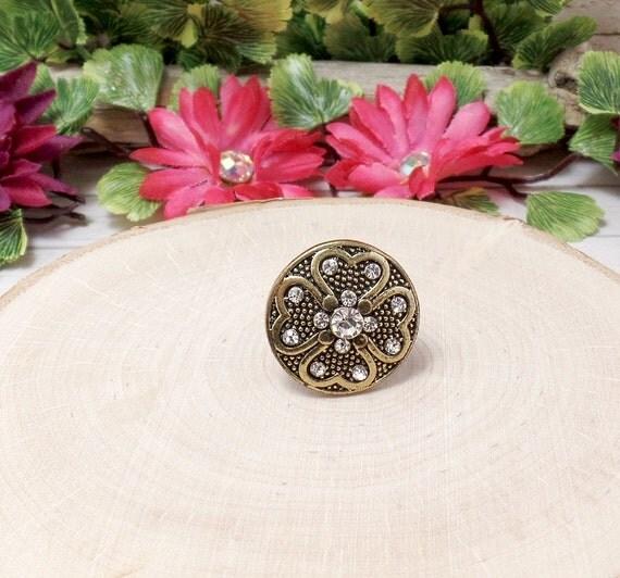 Bronze Clover Ring - Rhinestone Clover Ring - Button Ring - Shamrock Ring