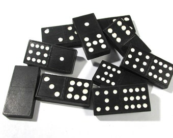 Dragon Back DOMINOES Ten (10) VINTAGE Black Dominoes Altered Art Assemblage Supplies Vintage Game Pieces (N34)