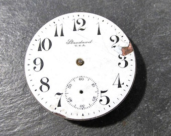 Pocket Watch VINTAGE Pocket Watch Parts Porcelain FACE Jewels Guts Mechanical Movements Plates Gears Watch Repair Jewelry Supplies (D54)